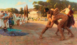 referee-watches-greek-wrestlers-in-ancient-olympic-games